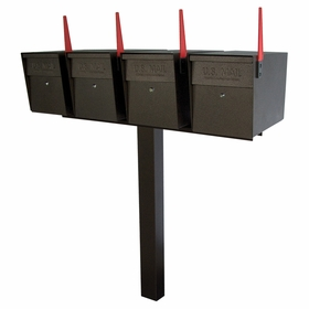 Ultimate High Security Locking Quadruple Mailbox & Post Package - Bronzed Copper