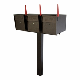 Ultimate High Security Locking Triple Mailbox & Post Package - Bronzed Copper