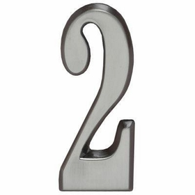 "Whitehall Brushed Nickel 5"" House Address Numbers Number ""2"""
