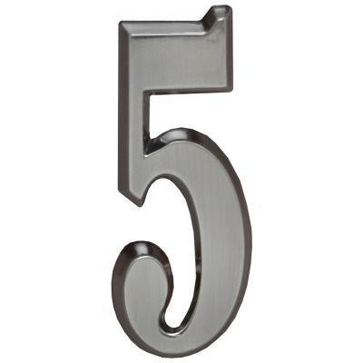 "Whitehall Brushed Nickel 5"" House Address Numbers Number ""5"""
