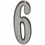 "Whitehall Brushed Nickel 4.75"" House Address Numbers Number ""6"""