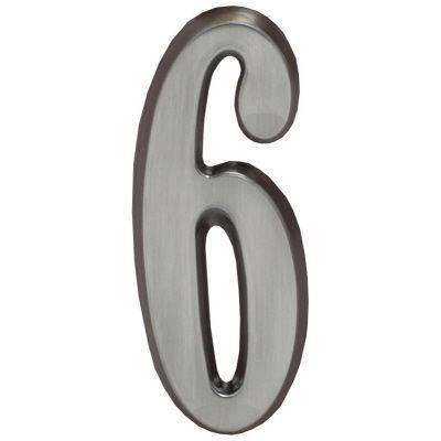 """Whitehall Brushed Nickel 4.75"""" House Address Numbers Number """"6"""""""