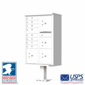 CBU Commercial Mailboxes - 8 Door with 4 Parcel Lockers - White