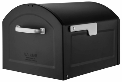 Centennial Large Capacity Mailbox - Black with Silver Flag
