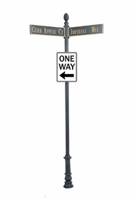 "Century Round Post Street Sign with Cast Blades and 24"" Rectangle Sign"