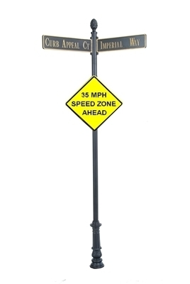 "Century Round Post Street Sign with Cast Blades and 30"" Diamond Sign"