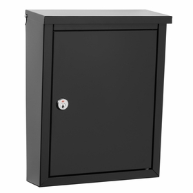 Chelsea Powder-Coated Steel Locking Wall-Mount Mailbox in Black