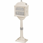 Classic Pedestal Mailbox Package - Almond with Satin Nickel