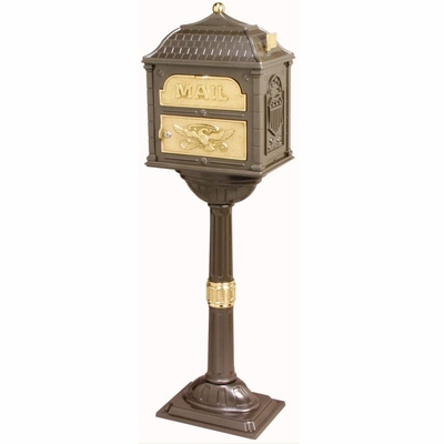 Classic Pedestal Mailbox Package - Bronze with Polished Brass