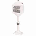 Classic Pedestal Mailbox Package -White with Satin Nickel