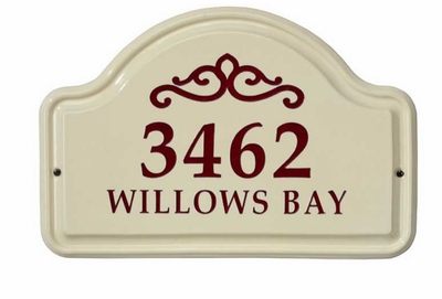 Whitehall Classic Scroll Ceramic Arch - Two Line Standard Wall Plaque - Red