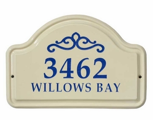 Whitehall Classic Scroll Ceramic Arch - Two Line Standard Wall Plaque - Dark Blue