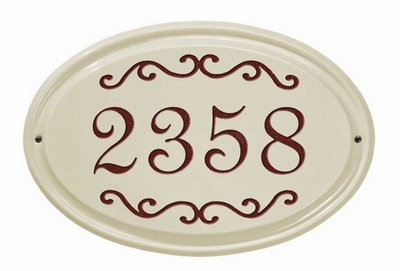Whitehall Classic Scroll Ceramic Oval - Standard Wall Plaque - One Line - Red