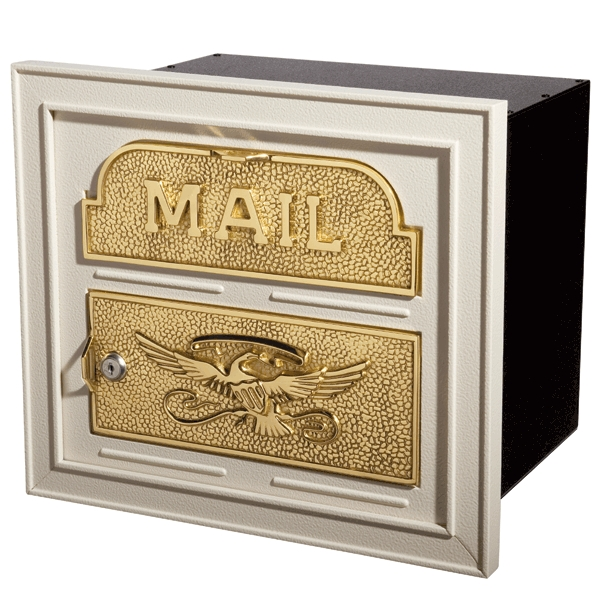 Locking Mailbox Insert For Columns : Gaines mailboxes column insert almond with