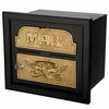 Column Insert Mailboxes - Black with Polished Brass Accents