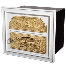 Column Insert Mailboxes - White with Polished Brass Accents