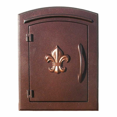 Manchester Non-Locking Column Mount Mailbox with Fleur de Lis Emblem in Antique Copper
