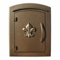 Manchester Security Locking Column Mount Mailbox with Fleur de Lis Emblem in Bronze (Stucco Column Not Included)