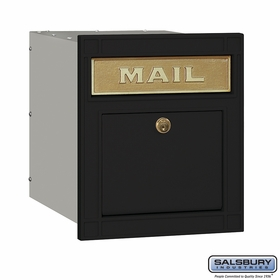 Salsbury 4145P-BLK Column Mailbox Locking Black Plain Door