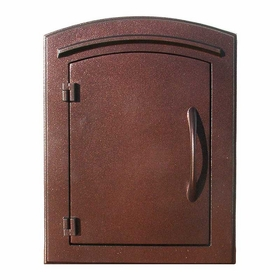 Manchester Non-Locking Column Mount Mailbox with Plain Door in Antique Copper