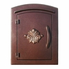 Manchester Non-Locking Column Mount Mailbox with Scroll Emblem in Antique Copper