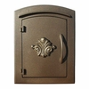 Manchester Non-Locking Column Mount Mailbox with Scroll Emblem in Bronze