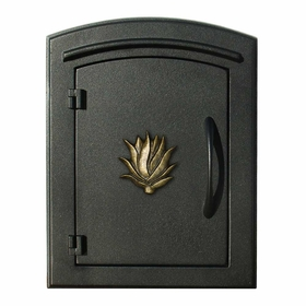 Manchester Security Locking Column Mount Mailbox with Decorative Agave Emblem in Black (Stucco Column Not Included)