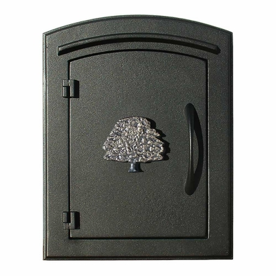 Manchester Non-Locking Column Mount Mailbox with Oak Tree Emblem in Black