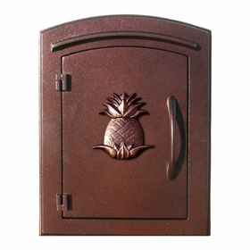 Manchester Non-Locking Column Mount Mailbox with Pineapple Emblem in Antique Copper