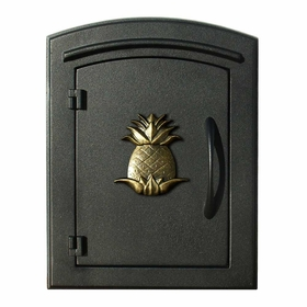 Manchester Non-Locking Column Mount Mailbox with Pineapple Emblem in Black