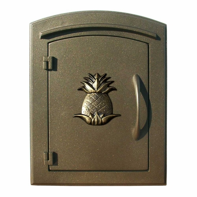 Manchester Non-Locking Column Mount Mailbox with Pineapple Emblem in Bronze
