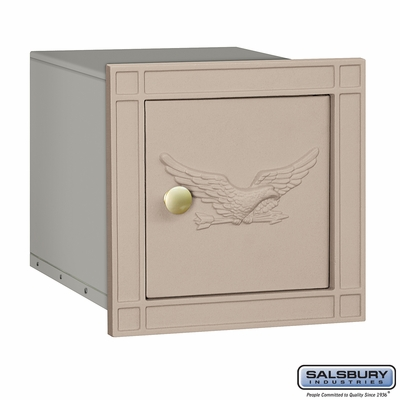 Salsbury 4140E-BGE Column Mounted Mailbox With Eagle Without Slot In Beige