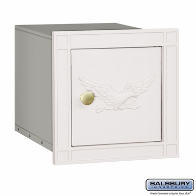 Salsbury 4140E-WHT Column Mounted Mailbox With Eagle Without Slot In White