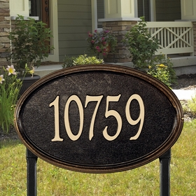 Concord Oval Estate Lawn Address Sign - One Line