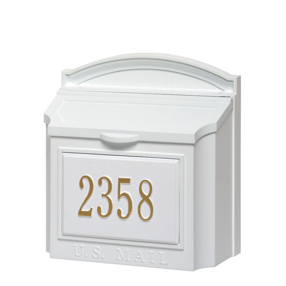 whitehall custom wall mount mailbox with removable locking insert white