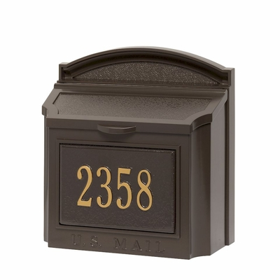 Whitehall Custom Wall Mount Mailbox with Removable Locking Insert - Bronze (Includes Personalized Address Plaque)