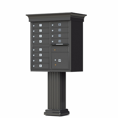 CBU Mailbox With Crown Cap And Pillar Pedestal Accessories - 12 Compartments in Dark Bronze