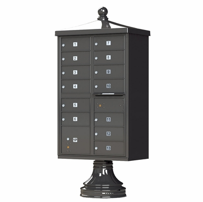 Decorative Cluster Box Unit (CBU) in Dark Bronze with 13 Compartments - Includes Pedestal and Finial Cap Accessories