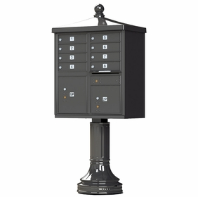 Decorative CBU With Traditional Pedestal And Finial Cap - Dark Bronze - 8 Compartments