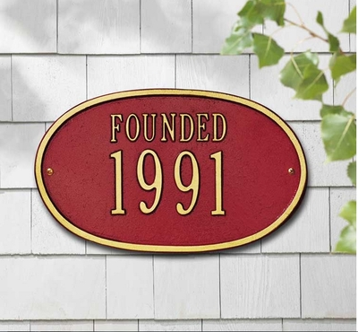 """Date Plaque - Standard Wall - """"Founded"""" One Line"""