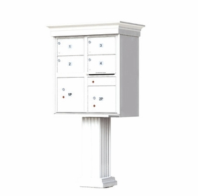 Decorative Crown Cap 4 Door CBU Mailboxes with Extra Large Tenant Doors White
