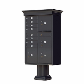 Decorative Crown Cap CBU Commercial Mailboxes - 8 Door with 4 Parcel Lockers - Black