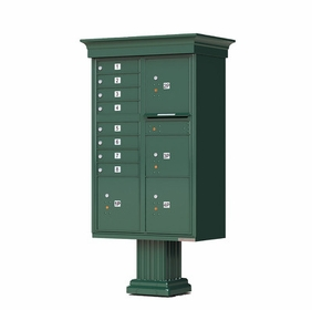 Decorative Crown Cap CBU Commercial Mailboxes - 8 Door with 4 Parcel Lockers - Green