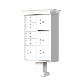 Decorative Crown Cap CBU Commercial Mailboxes - 8 Door with 4 Parcel Lockers - White
