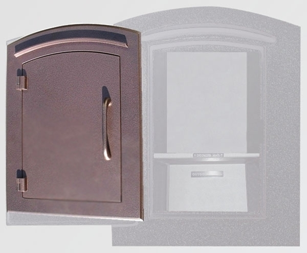Manchester Security Locking Column Mount Mailbox with Plain Door in Antique Copper (Stucco Column Not Included) & QualArc | Manchester Security Locking Column Mount Mailbox with ...