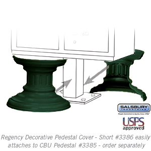 Salsbury 3386GRN Decorative Pedestal Cover-Short - Green