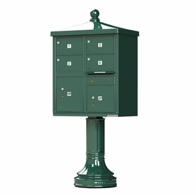 Decorative Traditional 4 Door CBU Mailboxes with Extra Large Tenant Doors Green