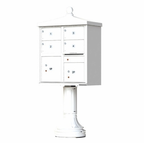 Decorative Traditional 4 Door CBU Mailboxes with Extra Large Tenant Doors White