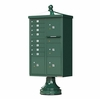 Decorative Traditional CBU Commercial Mailboxes - 8 Door with 4 Parcel Lockers - Green