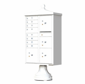Decorative Traditional CBU Commercial Mailboxes - 8 Door with 4 Parcel Lockers - White